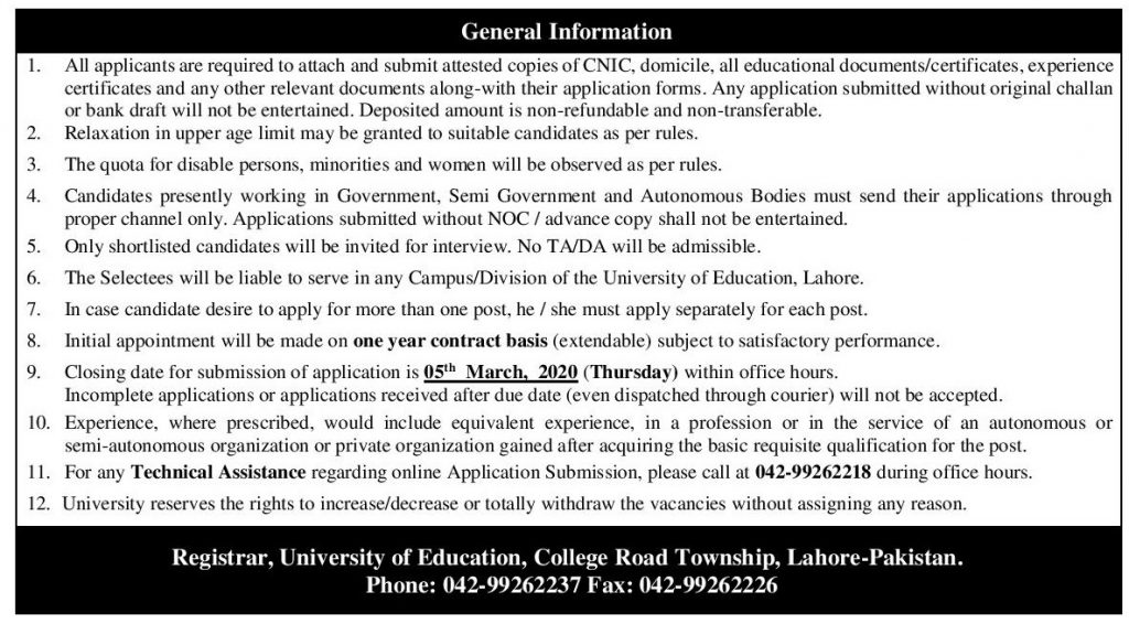 General instructions University of education non teaching jobs 2020