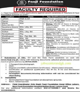 Download advertisement Fauji Foundation teaching jobs 2020.