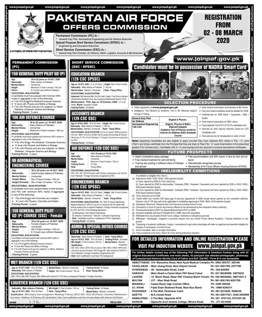 Pakistan Air Force PAF Jobs 2020 Advertisement