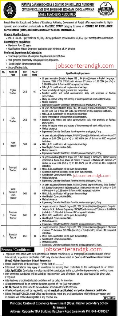 Punjab Danish School And Center Of Excellence Authority Teaching Jobs 2020 Latest Advertisement