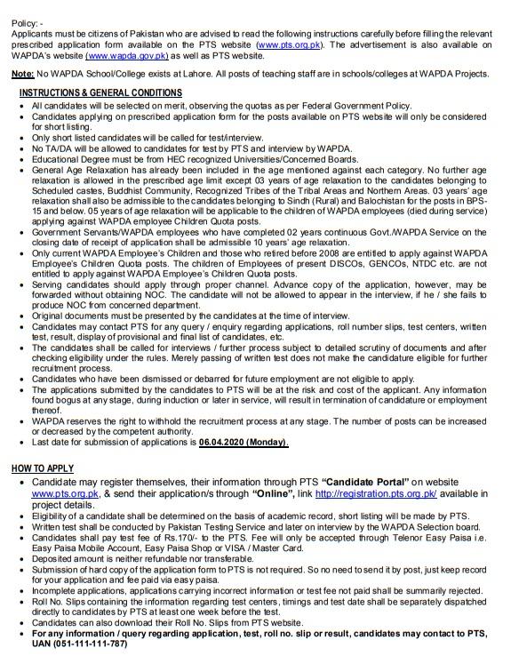 WAPDA Lecturer jobs 2020 advertisement 1 Teaching Subject Specialist and Lecturer Jobs 2020 Apply Online