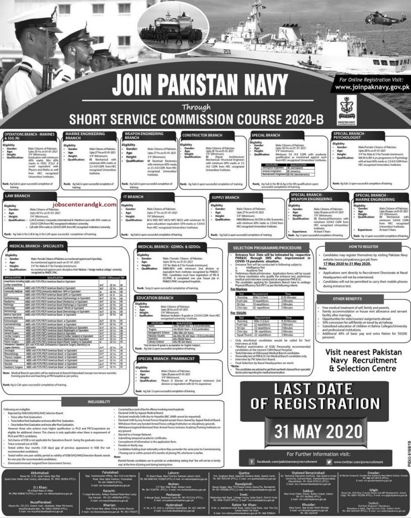 pakistan navy issb jobs 2020 advertisement