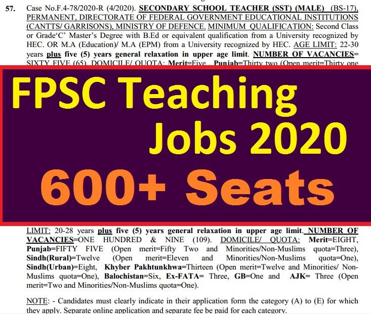 Govt teaching jobs 2020 through fpsc