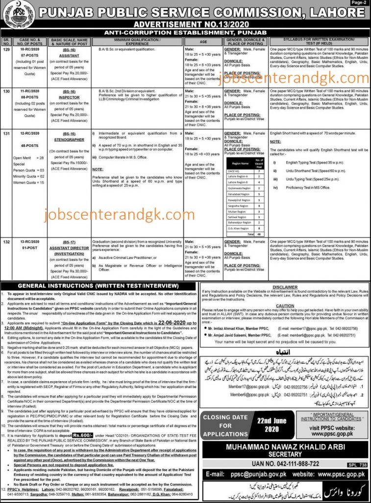 Latest govt jobs in anti corruption department Punjab