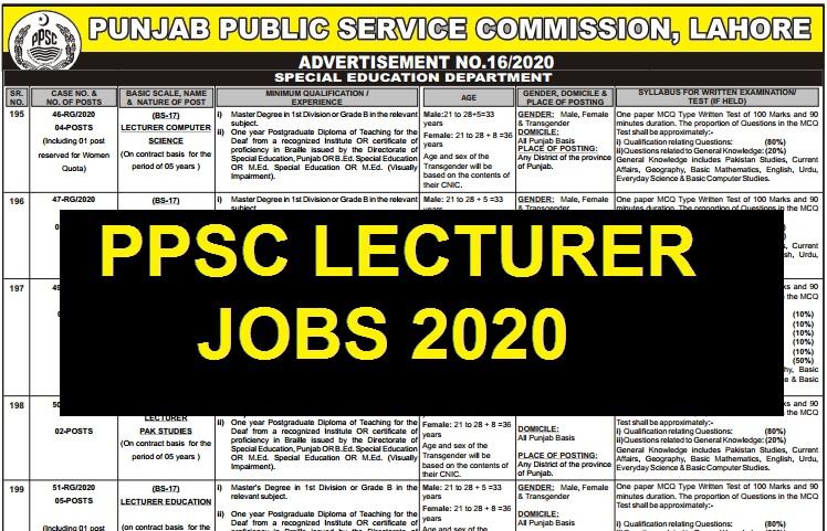 LECTURER JOBS 2020 IN PUNJAB PPSC Lecturer Jobs 2020 Apply Online