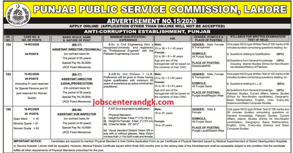 Anti Corruption Jobs 2020 PPSC Advertisement no 15
