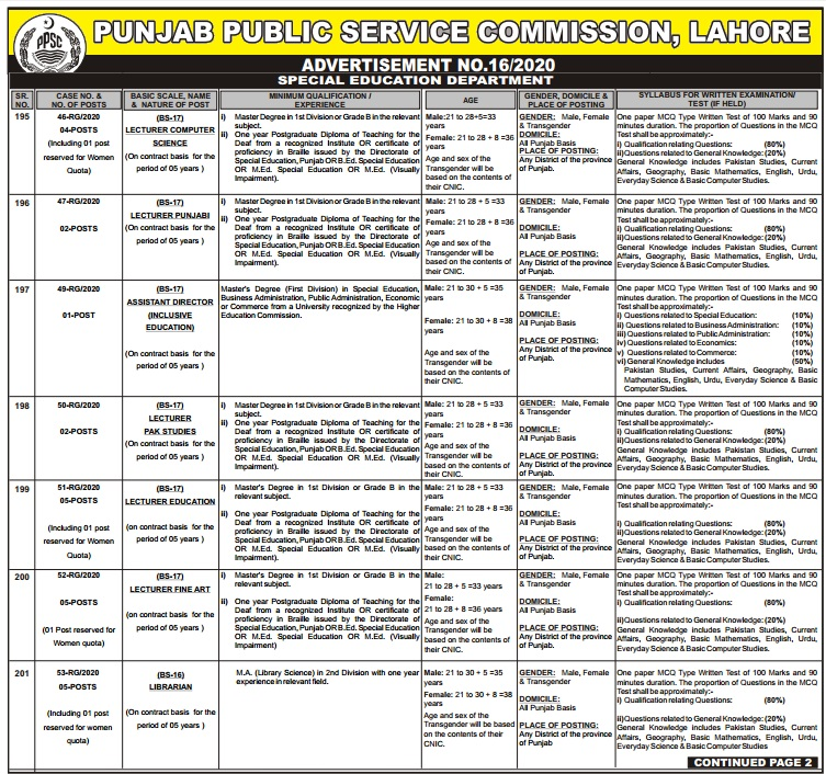 ppsc lecture jobs 2020 in punjab