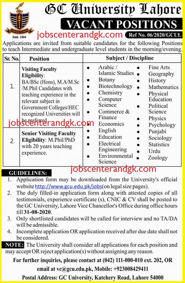 GC University lahore lecturer jobs 2020 ad