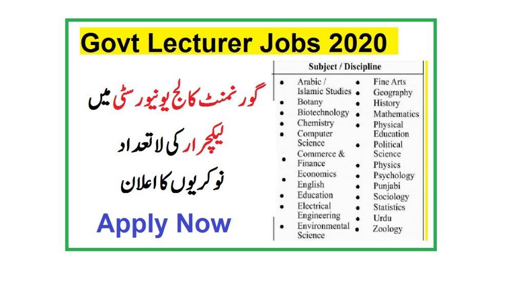 GC University lahore teaching jobs 2020