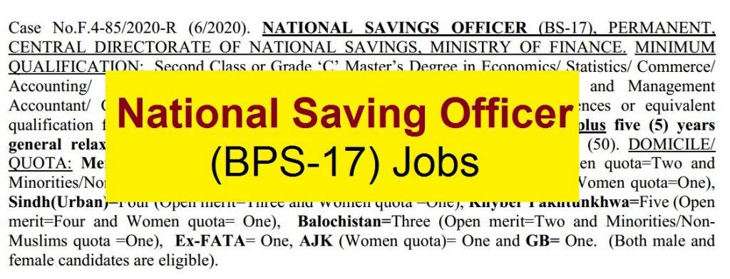 national saving officer jobs
