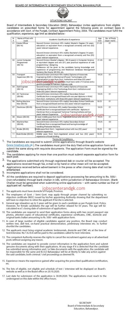 BISE Bahawalpur Jobs 2020 advertisement