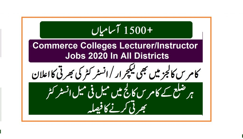 PPSC lecturer jobs 2020 in commerce colleges