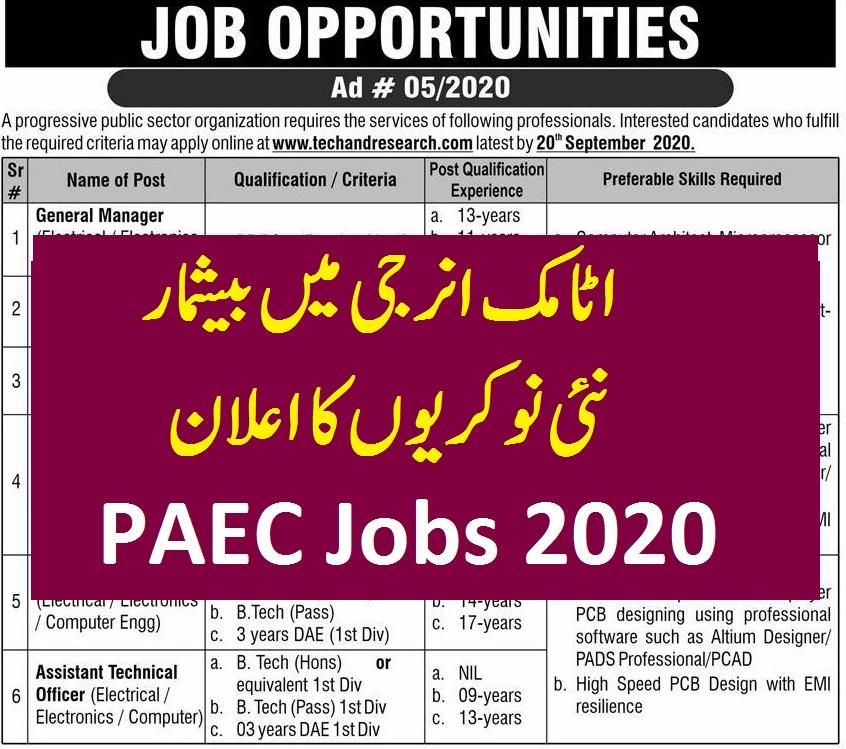 latest PAEC JOBS 2020 Avertisement