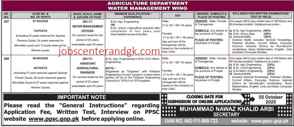 PPSC advertisement 26, 2020 agriculture department Jobs