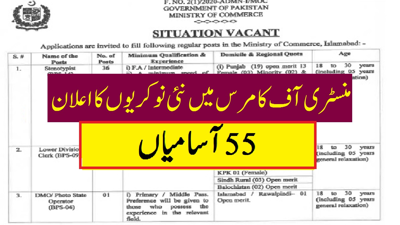 latest govt jobs today advertisement 1 Ministry Of Commerce Jobs 2020 Application Form