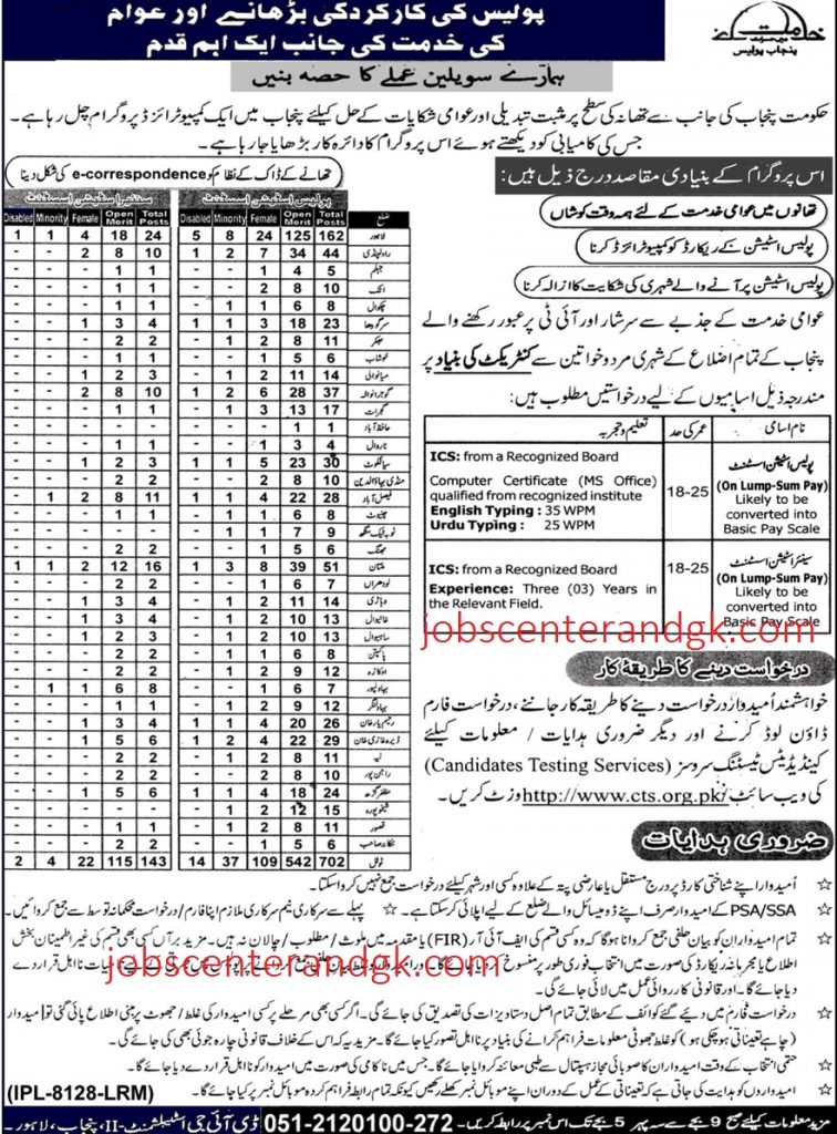 Punjab Police CTS Jobs 2020 Application From