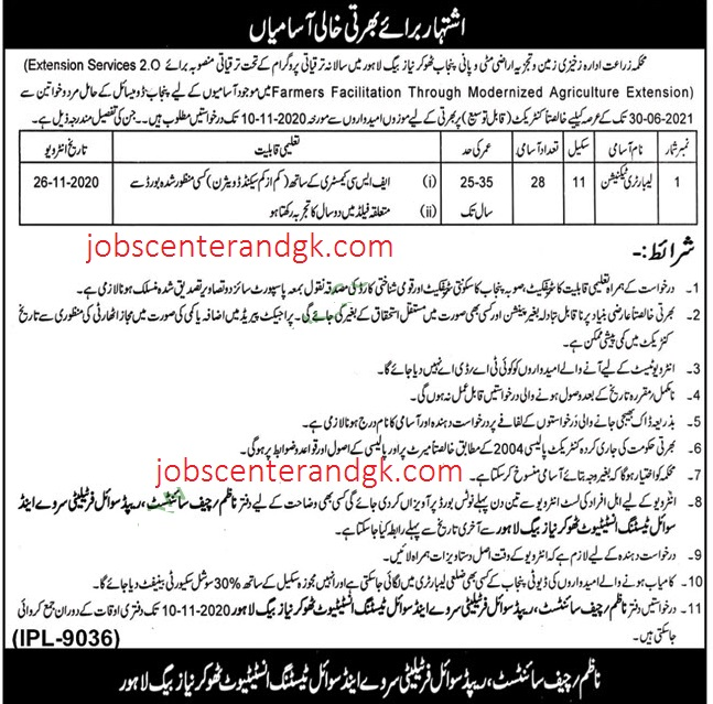 Agriculture Department Lahore Jobs advertisement for Laboratory Technician