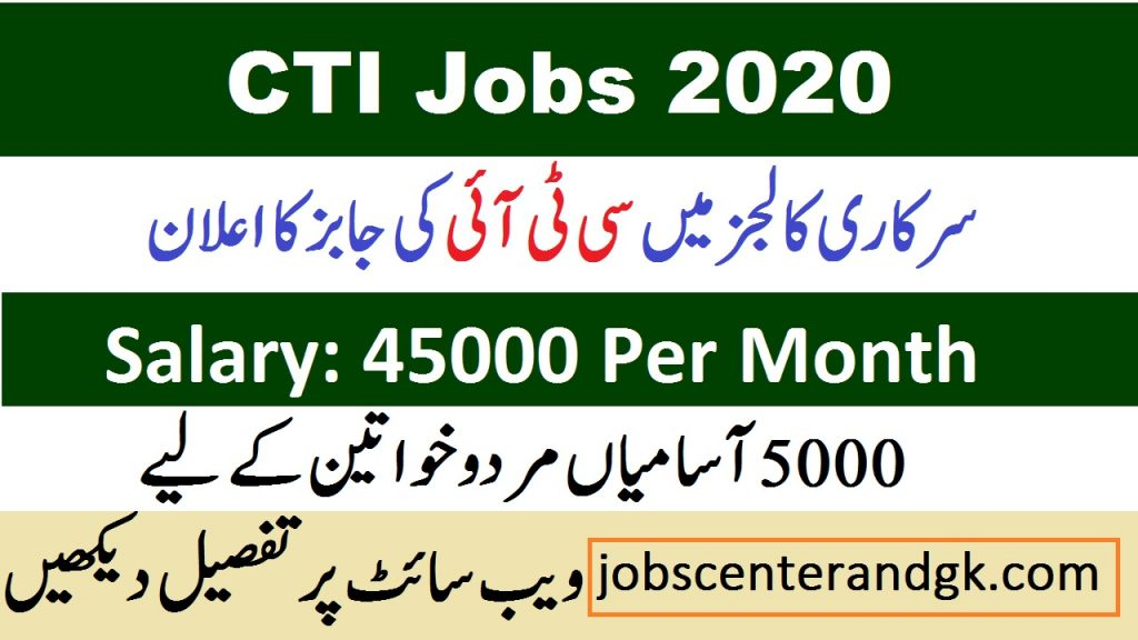 College Teaching Interns CTI Jobs 2020-21