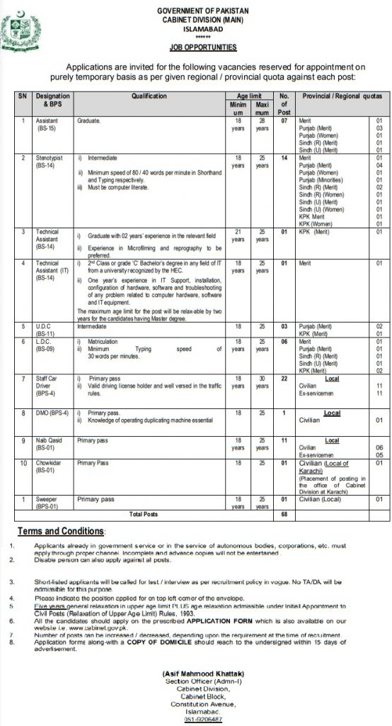 Cabinet Division Jobs 2020 Cabinet Division Jobs 2020 Application Form
