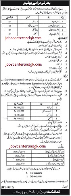 Punjab Police Elite Force Jobs 2020 advertisement