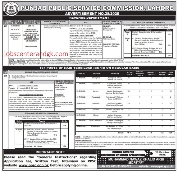 PPSC Tehsildar and Naib Tehsildar advertisement 2020
