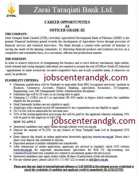 ZTBL OG-3 Jobs 2020 advertisement