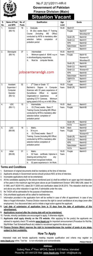 Finance Division Jobs 2020 advertisement