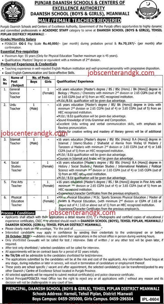 Punjab Danish school piplan district mianwali jobs