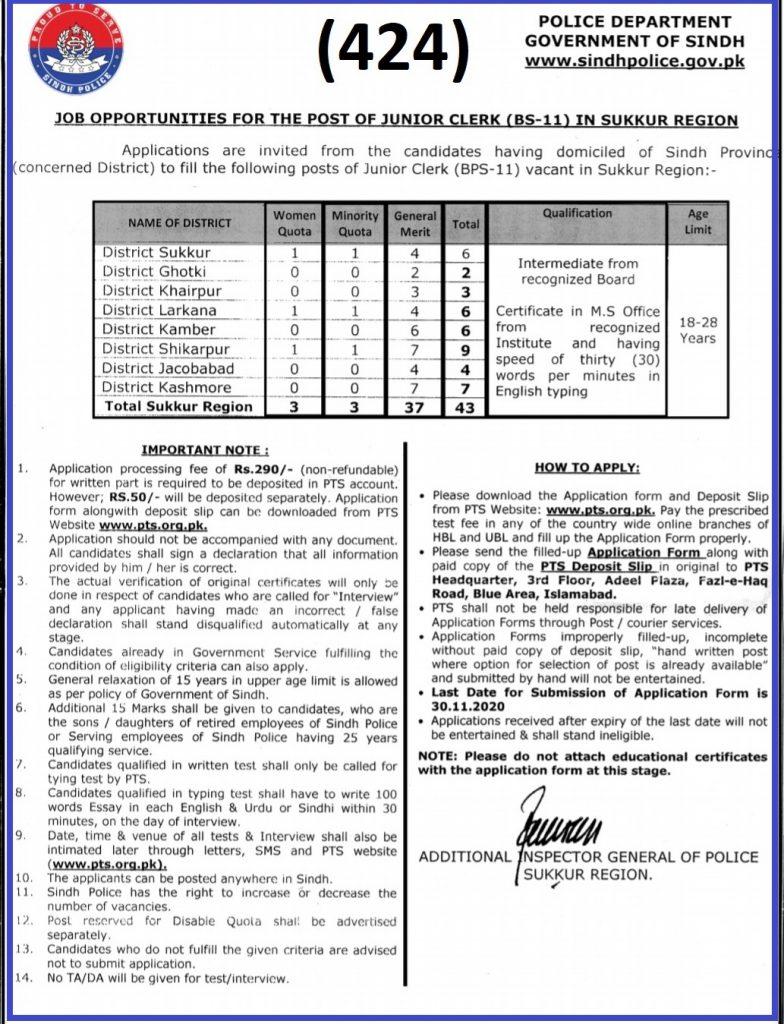Advertisement sindh police Sukkur Region jobs 4 Sindh Police Jobs 2020 Karachi