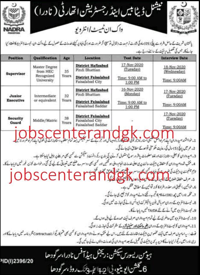 NADRA Jobs 2020 faisalabad and hafizabad ad