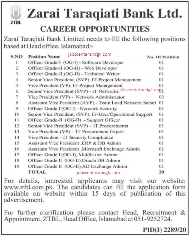 ZTBL jobs 2020 ad
