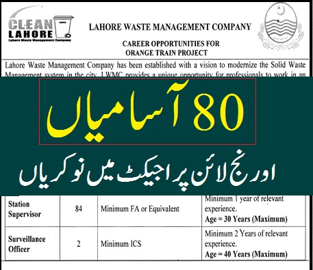 today jobs in Pakistan advertisement Lahore Waste Management Company LWMC Jobs 2020 Online Apply