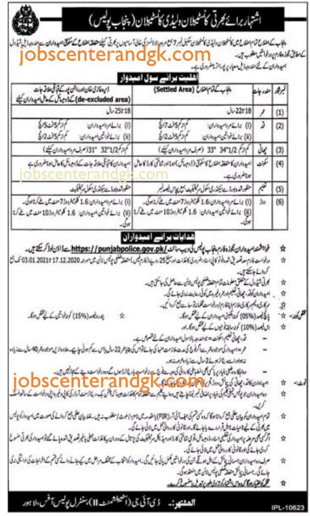 punjab police constable jobs december  2020 advertisement