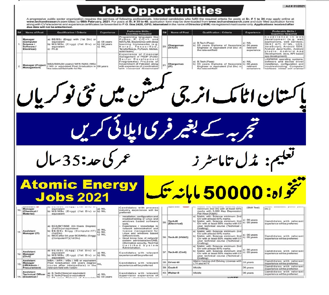 Atomic Energy Jobs 2021 advertisement