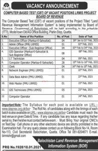 Board of revenue jobs Balochistan