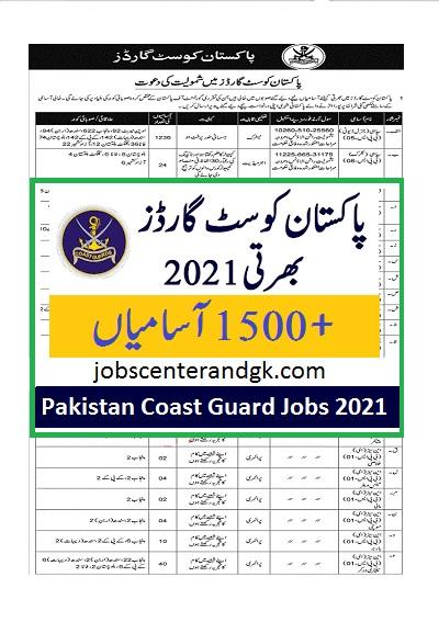 Pakistan coast guard jobs 2021 ad