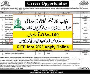 Punjab information technology board Jobs 2021 ad