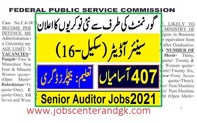 FPSC Senior auditor jobs