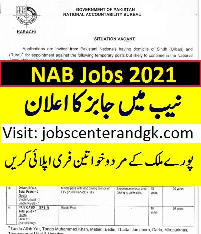 NAB Karachi lahore islamabad vacancies 2021