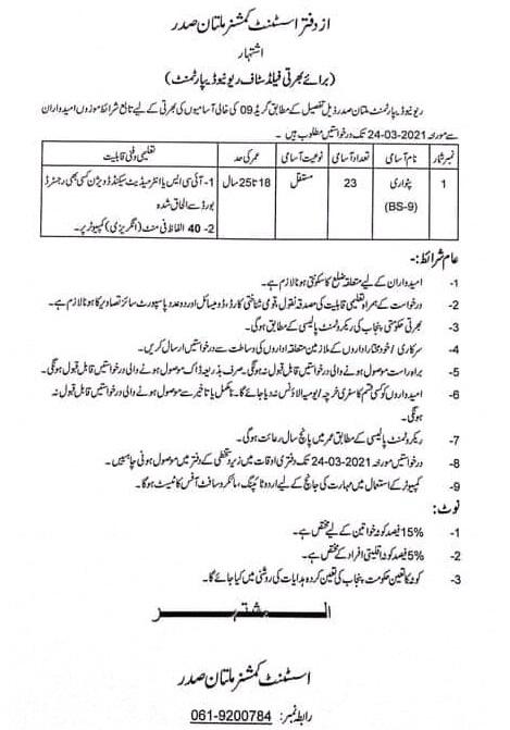 Patwari Multan Jobs