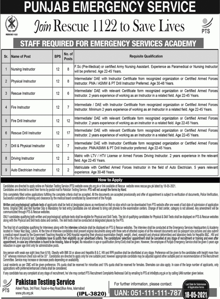 rescue 1122 jobs advertisement 2021