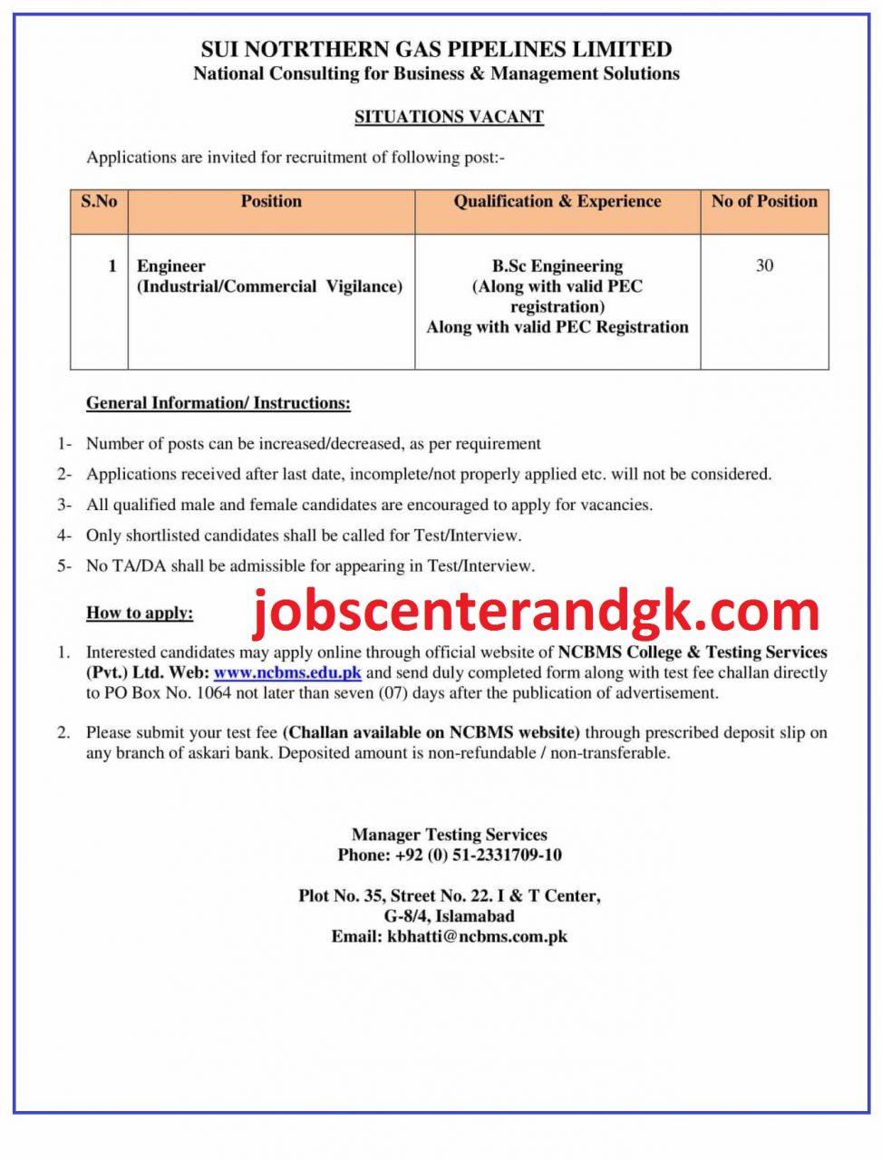 sngpl jobs 2021