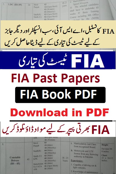 FIA Constable job 2021 past papers