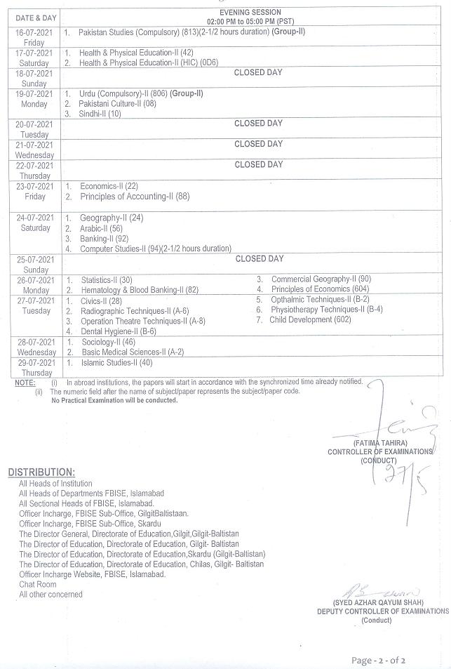 Fbise Date Sheet 2021 Matric