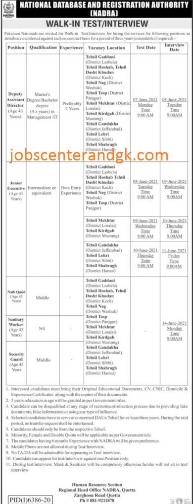 NADRA jobs 2021 Queta