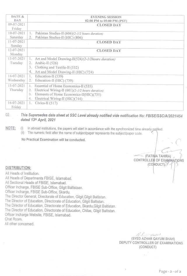 Matric date sheet 2021