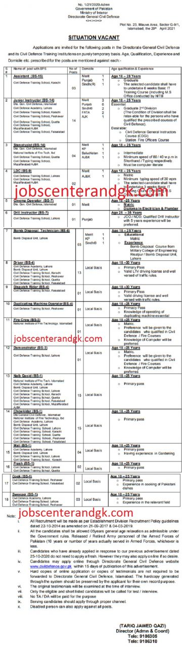 civil defence pakistan vacancies 2021