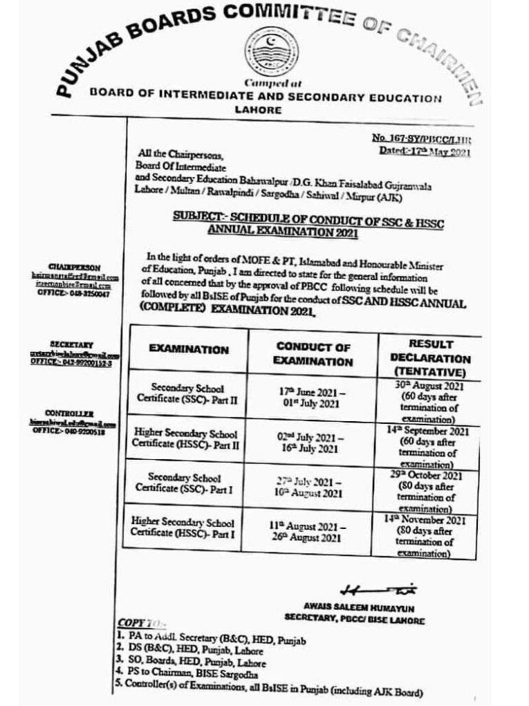 Board exams 2021 date sheet 2021