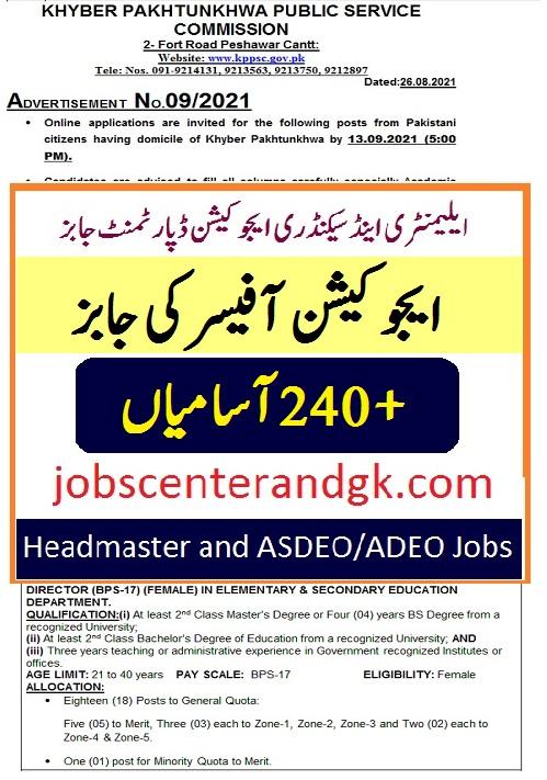 Elementary & secondary education KPK jobs advertisement 2021 advertisement