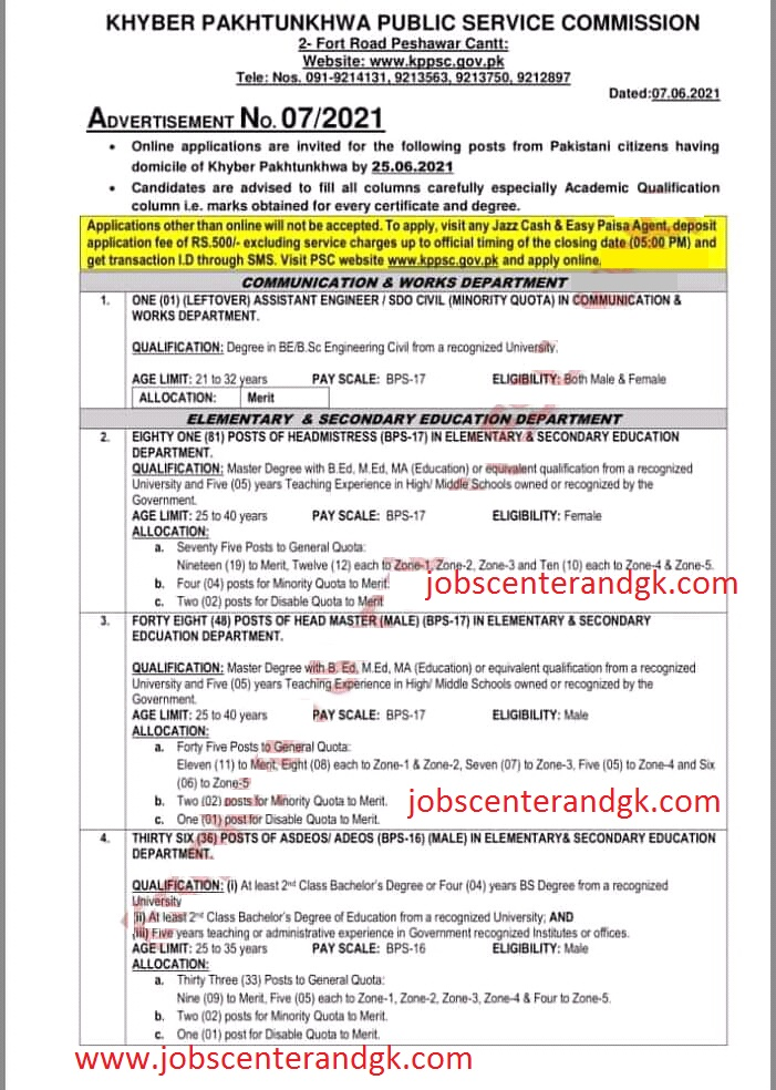 KPPSC Elementary and secondary education jobs advertisement no 7 2021